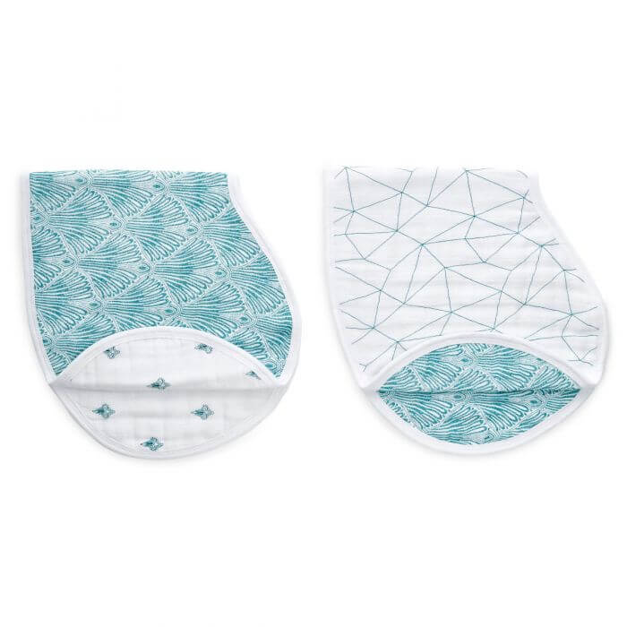 aden and anais paisley teal bibs